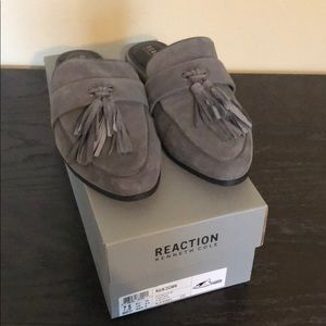 """Kenneth Cole Reaction """"rain down"""" charcoals mules"""
